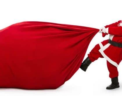 santa pulling bag